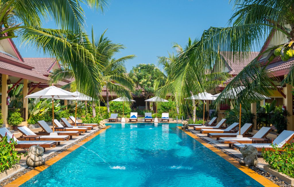 Tropical resort phuket island jigsaw puzzle in puzzle of for Garden pool crossword