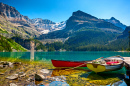 Boats on Lake O`Hara, British Columbia