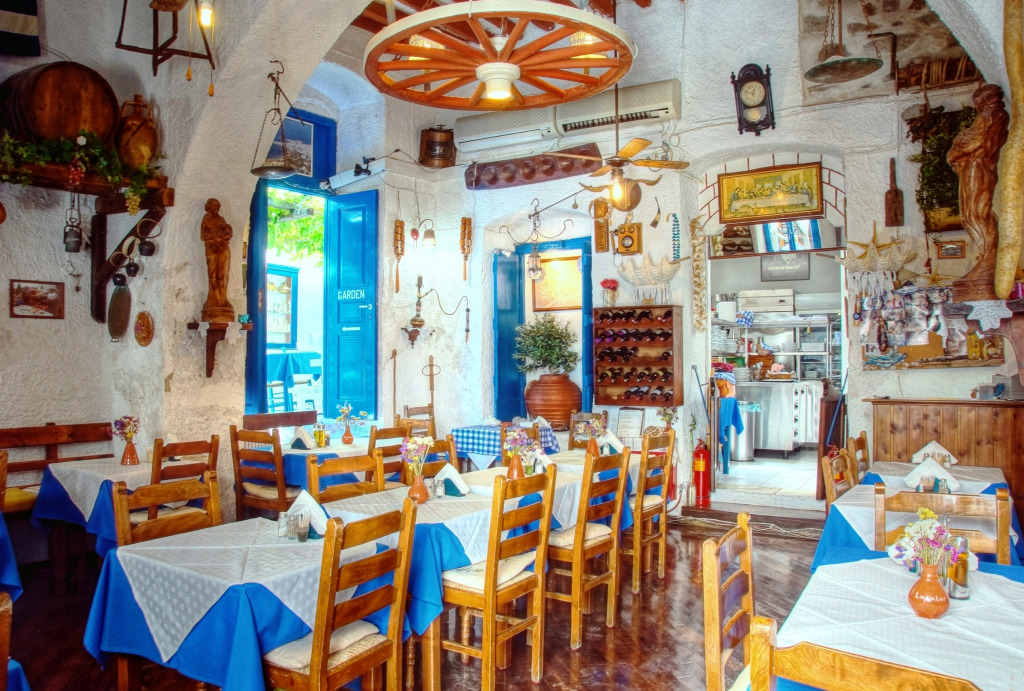 Traditional greek restaurant jigsaw puzzle in food