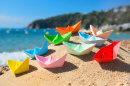 Paper Boats at the Beach