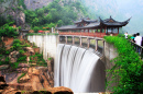 Temple and Waterfall in Taizhou, China