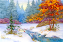 The First Snow Watercolor Landscape