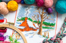 Winter House Embroidery