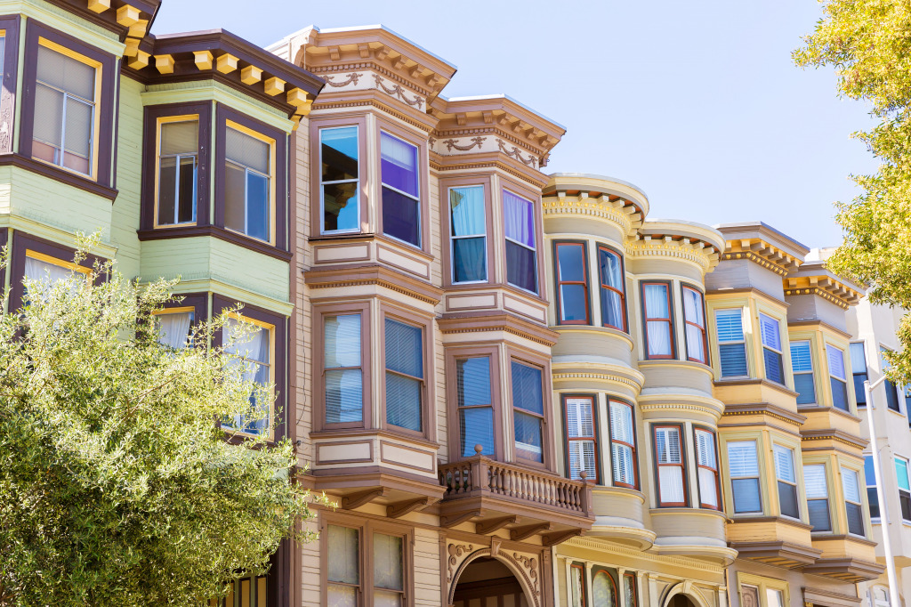 San francisco victorian houses jigsaw puzzle in street for San francisco victorian houses