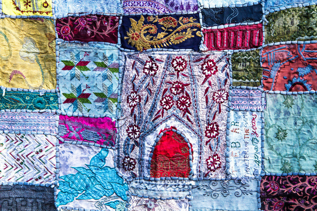 Patchwork Quilt From India Jigsaw Puzzle In Handmade