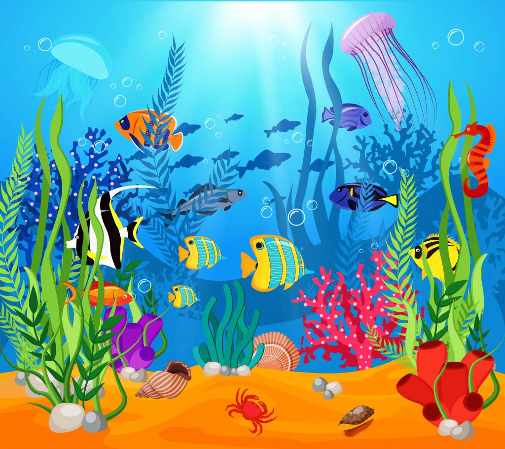 Рисунок морских рыбок с водорослями