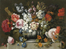 Still Life of Flowers with a Parrot