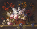 Still Life with Flowers in a Wicker Basket