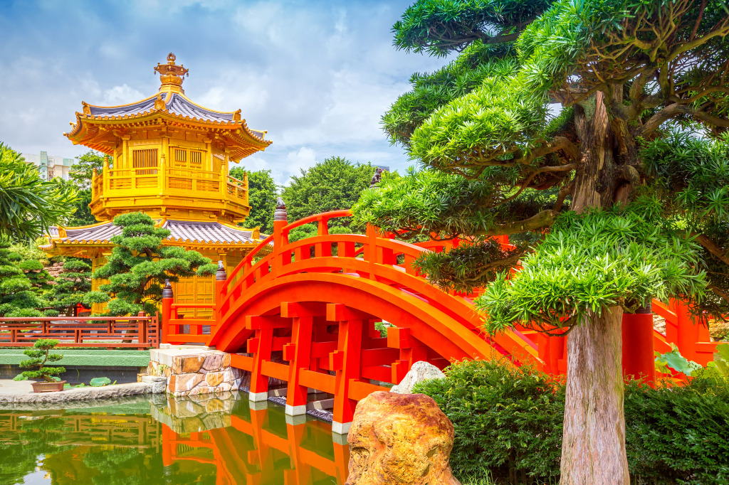 Chinese garden in hong kong jigsaw puzzle in bridges puzzles on for Garden pavilion crossword clue