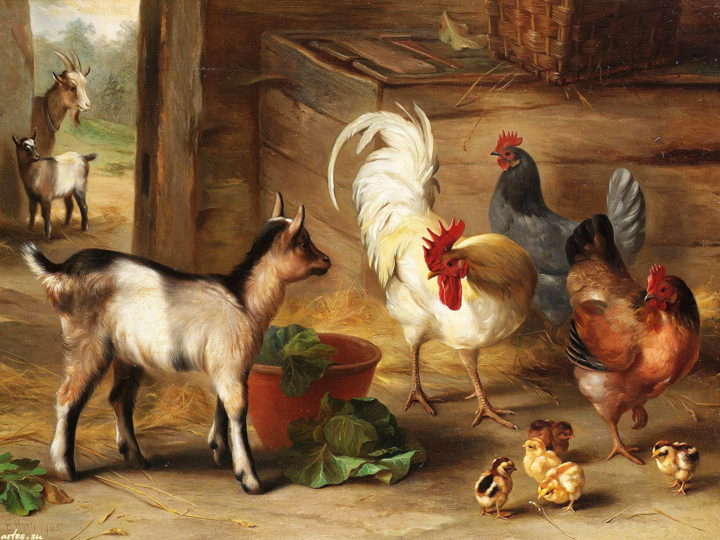 Baby Goats In A Barn Jigsaw Puzzle In Piece Of Art Puzzles