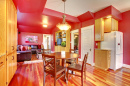 Red Kitchen with Cherry Hardwood