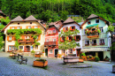 Village Square In Hallstatt, Austria