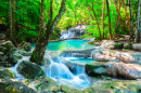 Beautiful Waterfall in Thai Jungle