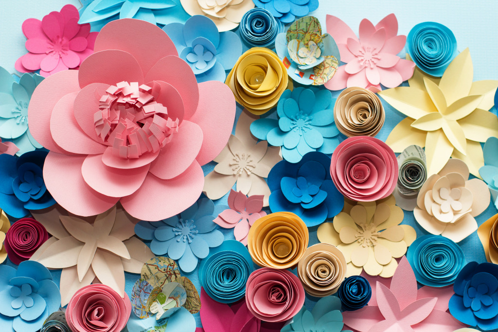 Colorful paper flowers jigsaw puzzle in flowers puzzles on share mightylinksfo
