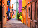 Colorful Street In Burano, Italy