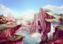 Fantasy Landscape with Waterfalls