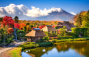 Historic Japanese Farmhouses with Mt. Fuji