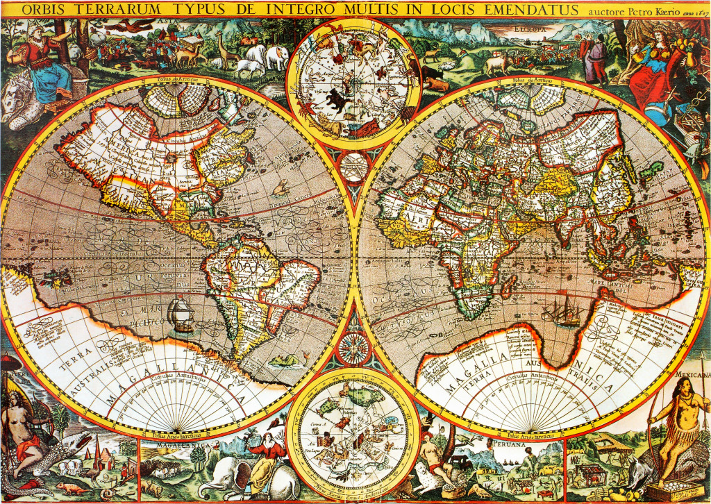 Antique Th Century World Map Jigsaw Puzzle In Puzzle Of The Day - 17th century world map
