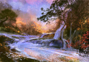 Fantasy Landscape with a Waterfall
