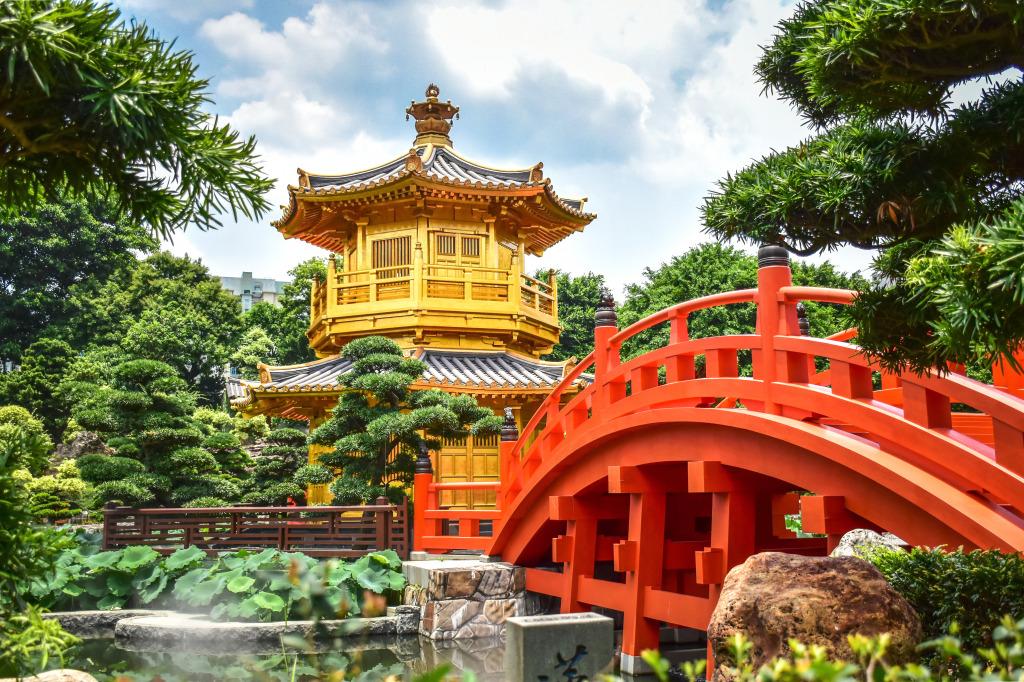 Nan lian garden in hong kong jigsaw puzzle in bridges puzzles on for Garden pavilion crossword clue