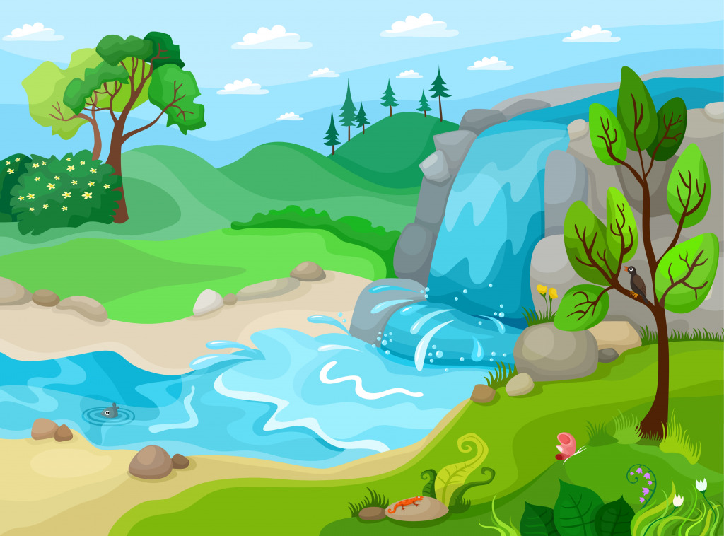 Landscape with a Waterfall jigsaw puzzle in Waterfalls ...