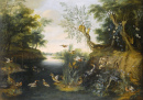 River Landscape with Ducks and Other Fowl