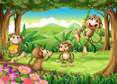 Monkeys Playing in the Forest