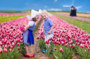 Dutch Children in a Tulip Field