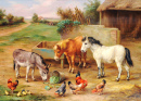 A Donkey, Ponies and Poultry in a Farmyard