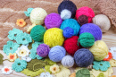 Balls of Yarn with Crocheted Flowers