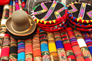 Colorful Fabrics at the Market in Peru