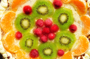 Raspberry, Kiwi and Tangerine Cake