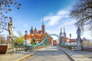 Bridge to Tumski Island in Wroclaw, Poland