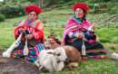 Peruvian Women Spinning Yarn