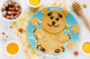 Bear Pancakes with Honey and Nuts