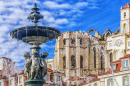 Fountain in Rossio Square in Lisbon