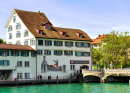 Limmat River Quay in Zurich, Switzerland