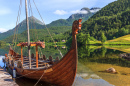 Viking Boat Replica in a Norwegian Landscape