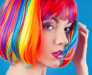 Woman in a Colorful Wig