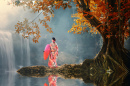 Kimono Girl at the Waterfall