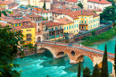 Ancient Roman Bridge Pietra, Verona, Italy