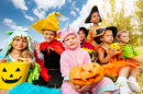 Halloween Kids in Colorful Costumes