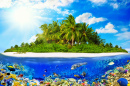 Tropical Island with Corals and Fish