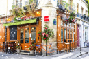 Parisian Cafe Decorated for Christmas