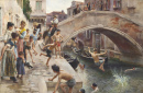 Children Leaping Into A Venetian Canal