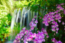 Waterfall with Flowers in the Garden