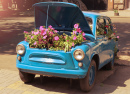 Retro Car with Flowers