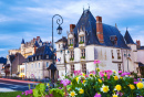 Amboise Town and Chateau at Dusk, France