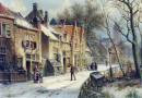 Villagers in a Snow-covered Dutch Town