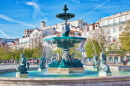 Rossio Square Fountain, Lisbon, Portugal